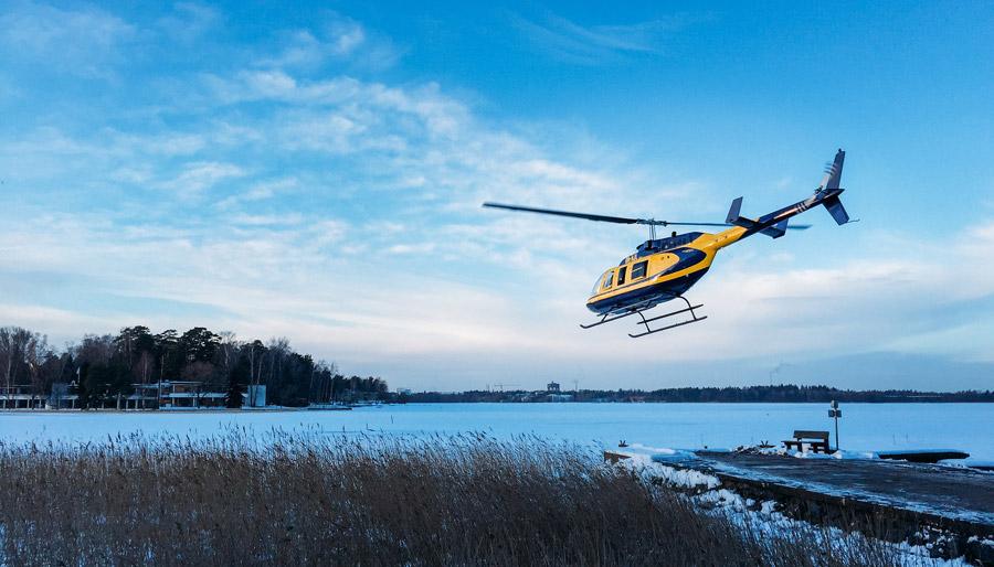 Passeio de helicóptero por Helsinki!